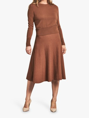 Pure Collection Cashmere Ribbed Hem Sweater, Cognac
