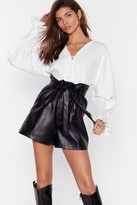 Womens Faux Leather Break Your Heart Paperbag Shorts - black - 4