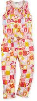 Kenzo Printed Poplin Racerback Jumpsuit, Pink, Size 6-10