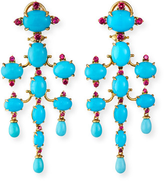 Paul Morelli 18k Turquoise Tiered Chandelier Earrings