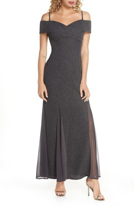 Morgan & Co. Glitter Cold Shoulder Gown