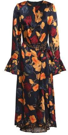 Mother of Pearl Elodie Layered Floral-print Silk-satin And Crepe De Chine Midi Dress