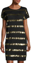 MICHAEL Michael Kors Sequined-Stripe Dolman-Sleeve Dress, Black/Gold