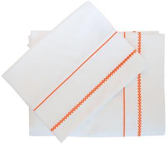 Stamattina Linens Giulia Embroidered Flat Sheet, White With Orange, King