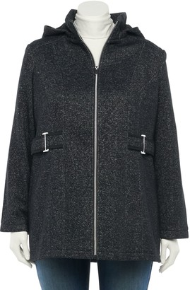 Details Plus Size Hood Fleece Jacket