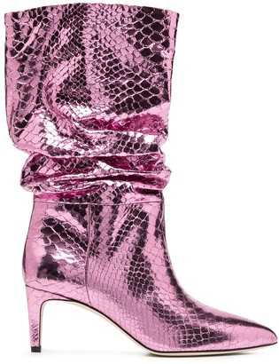 Paris Texas Crocodile-Effect Mid-Calf Boots
