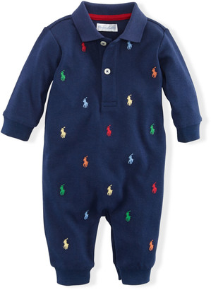Ralph Lauren Kids Logo Embroidery Polo Coverall, Size 3-12 Months