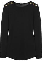 Balmain Button-detailed Wool And Silk-blend Sweater - Black