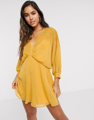 ASOS DESIGN embroidered yoke crinkle chiffon mini dress