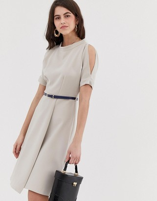 Closet London Closet a line open shoulder dress-Beige