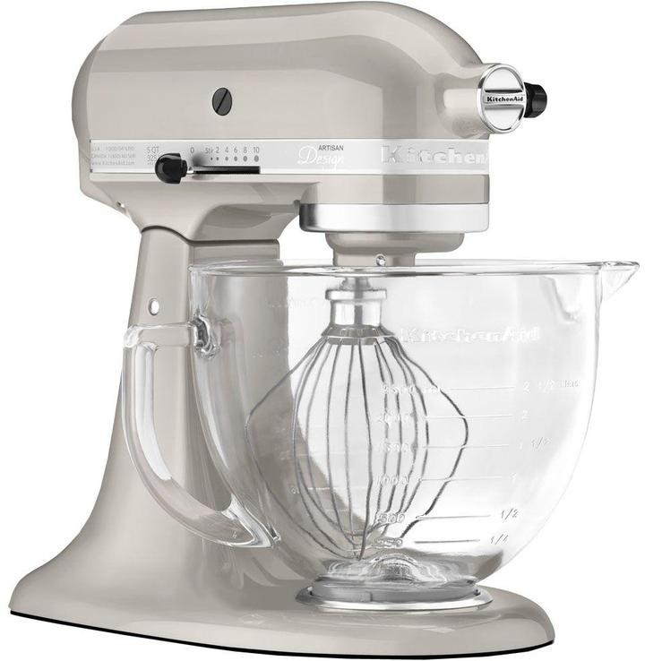 KitchenAid Artisan Designer Stand Mixer with Glass Bowl and Flex Edge Beater in Silver Metallic