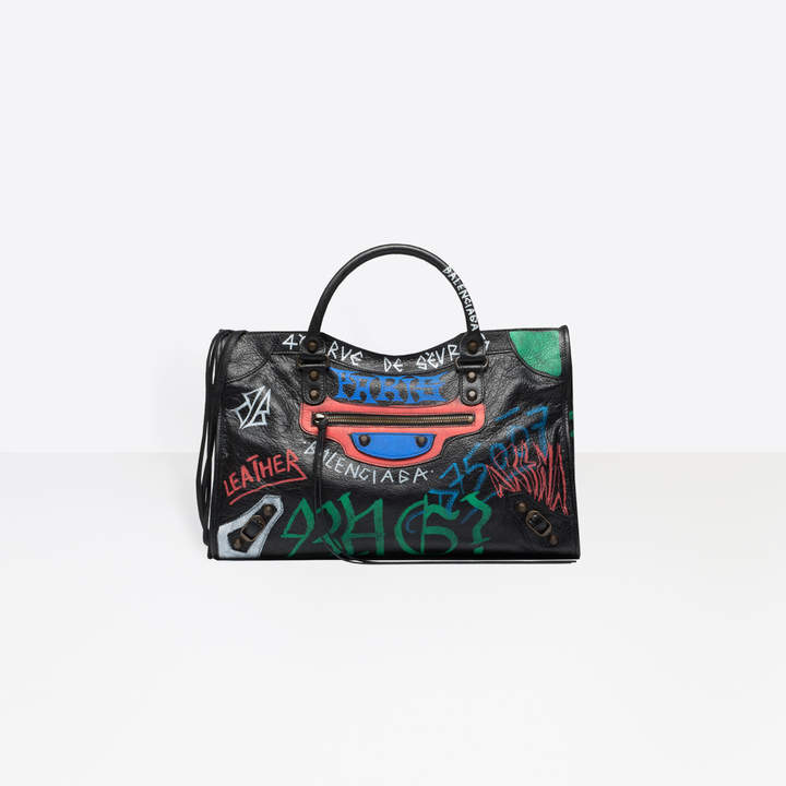 Balenciaga Medium-sized Arena graffiti all-over bag