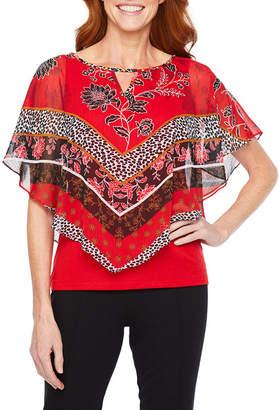 HEARTS OF PALM Hearts Of Palm Ru De La Ruby Womens Keyhole Neck Elbow Sleeve Embellished Blouse
