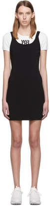 Alexander Wang White and Black Sport Layering Logo Mini Dress