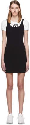 Alexander Wang White and Black Sport Layering Logo Mini Dress