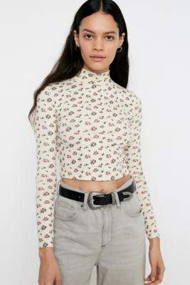 Urban Outfitters Ditsy Floral Roll Neck Top - black XS at