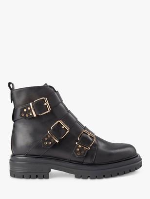 Shoe The Bear Franka Leather Buckle Biker Boots, Black