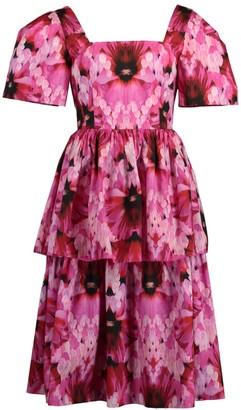 Alexander McQueen Tiered Orchid Print Dress