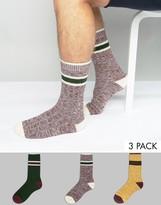 Asos Rib Boot Socks With Stripe 3 Pack