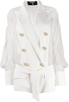 Balmain sheer panel double-breasted silk blazer