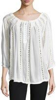 Joan Vass Crochet-Paneled Button-Front Tunic, Satin White
