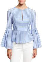 Milly Luna Striped Bell-Sleeve Peplum Blouse, Sky