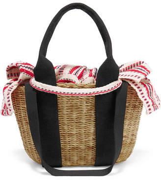 Muun Caba Mini Straw And Striped Cotton-canvas Tote - Black