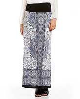 I.N. Studio Watercolor Border Print Knit Pull-On Skirt