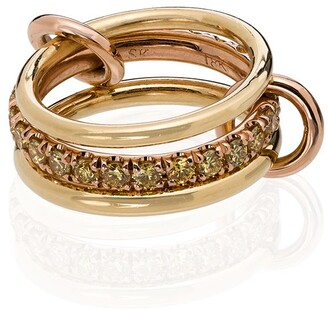 Spinelli Kilcollin 18kt yellow and rose gold Petunia pave diamond link ring