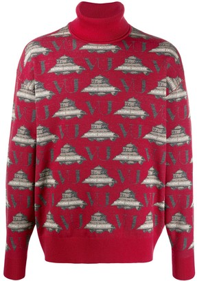 Undercover Turtle-Neck Embroidered Sweater