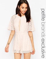 John Zack Petite Lace Romper With Keyhole Front