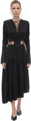 MATÉRIEL Lace-up Silk Satin Midi Dress