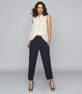 Reiss Willow - Printed Sleeveless Blouse in Ivory