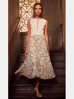 Toccin Zip-Front Pleated Midi in Vanilla/Natural Python