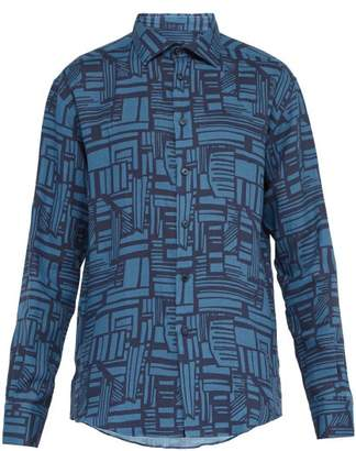 Frescobol Carioca Linha Printed Linen Shirt - Mens - Blue