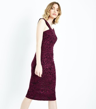 New Look AX Paris Lace Cross Front Midi Dress