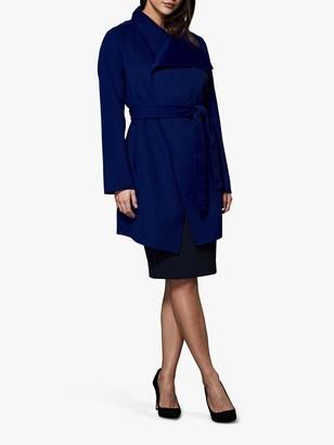 Winser London Lauren Wrap Wool Blend Short Coat, Blue
