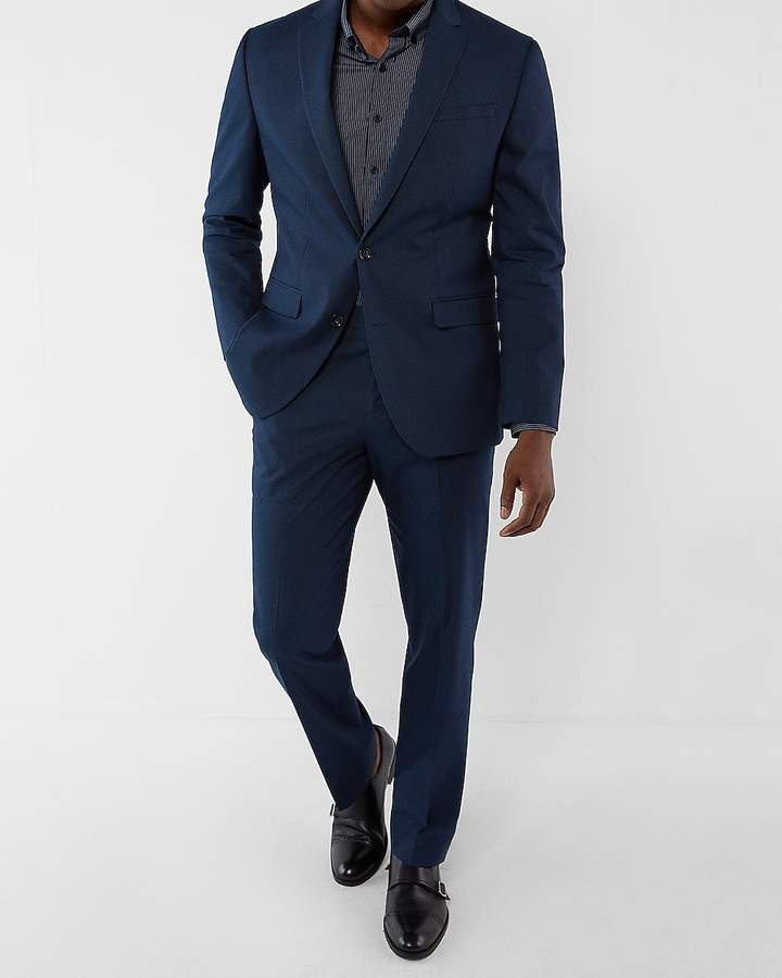 Express Classic Navy Microdot Cotton Suit Jacket