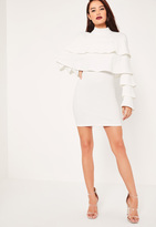 Missguided White Crepe Layered Frill Bodycon Dress