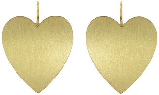 Irene Neuwirth Large Flat Heart Earrings - Yellow Gold