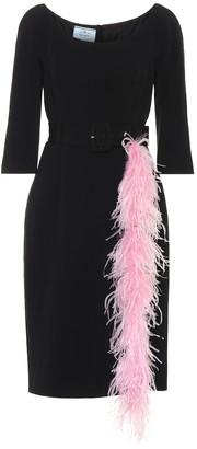 Prada Feather-trimmed crepe dress