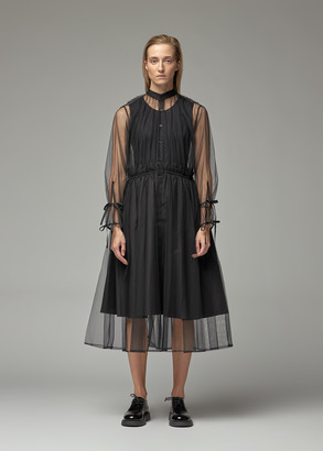Noir Kei Ninomiya Women's Cotton + Nylon Shirt Dress in Black Size 1