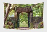 SCOCICI Home Decor Tapestry Wall Hanging Oriental Gate In The Tropical Asian Garden Ninh Binh Province Vietnam 257358217 for Bedroom Living Room Dorm