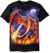 Liquid Blue Men's Plus Size Fantasy Dragon Fire Short Sleeve T-Shirt