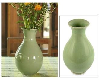 Novica Handmade Harmony Celadon Ceramic Vase