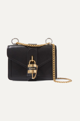 Chloé Aby Chain Mini Textured-leather Shoulder Bag - Black