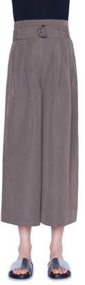 Akris Punto Fiorella Belted High Waist Wide Leg Crop Pants