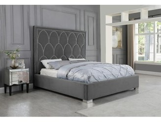 Everly Quinn Abernathy Upholstered Panel Bed Color: Gray, Size: California King