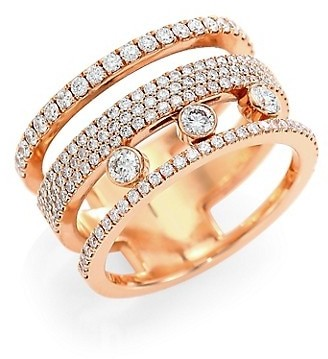 Messika Move Romane 18K Rose Gold & Diamond Pave Ring