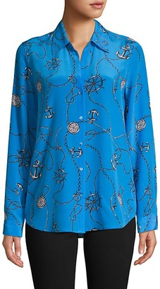 L'Agence Nautical-Print Silk Shirt